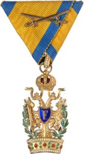 Figure 14: The Order of the Iron Crown, Knight Third Class badge with war decoration and swords. Image from the author's archive.
