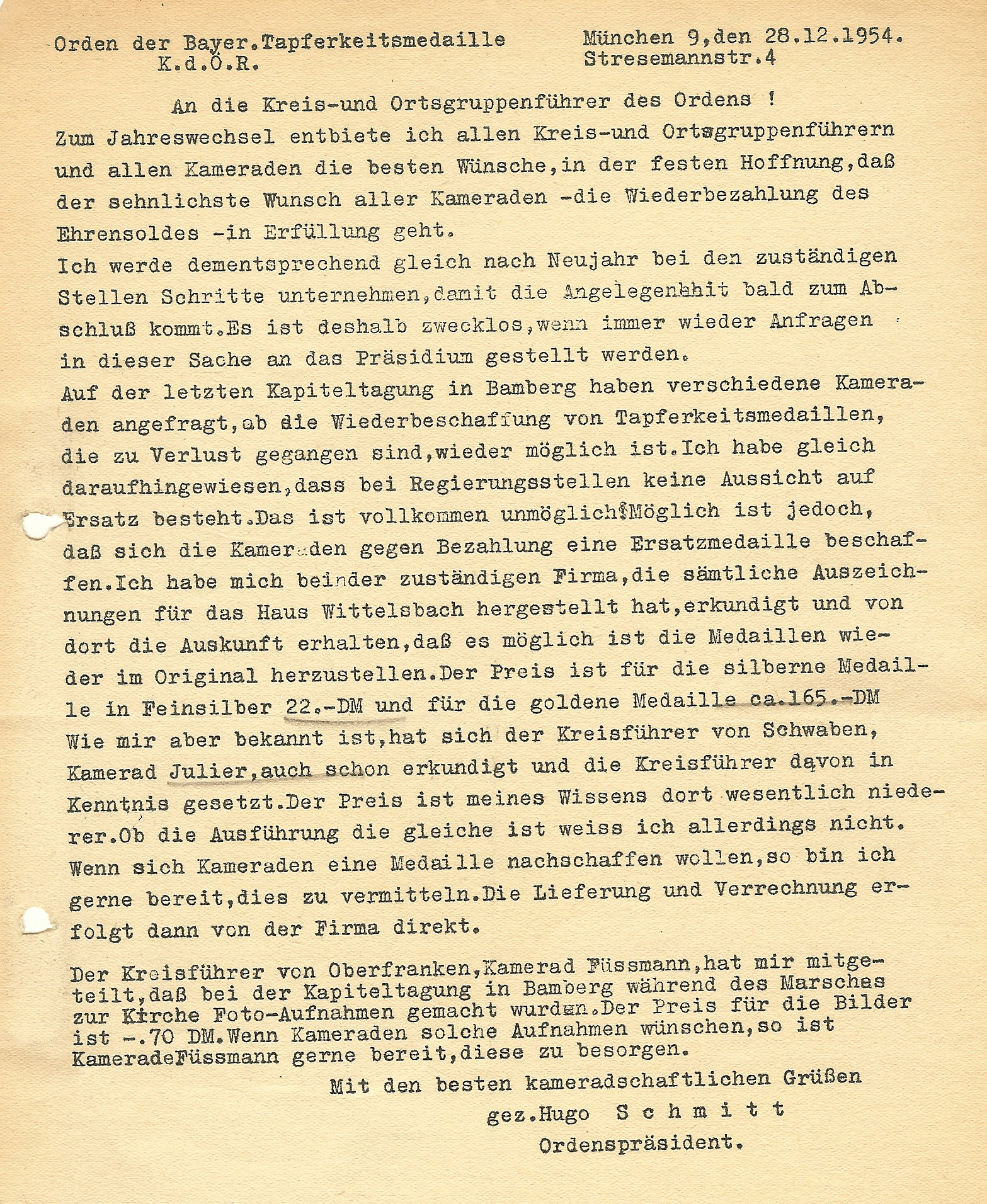 Figure 9-Letter discussing the availability of replacement medals for Orden der Bayerischen Tapferkeitsmedaille members. Image from author's archive.