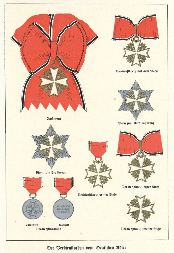 "Figure 1: Color Plate as found in ""Das Dritte Reich"", ""Das fuenfte Jahr 1937"", Hummelverlag, Berlin, shows the lineup as created on May 1, 1937, but mistakenly shows the 6 pointed star to the Merit Cross with Star as star to the Grand Cross. The Grand Cross star is an eight pointed star"