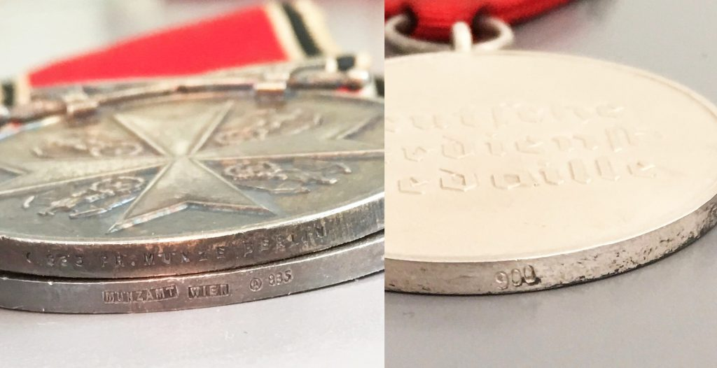 Figure 8: Comparison between the different medal proof and maker marks. 1st Type medal to the right