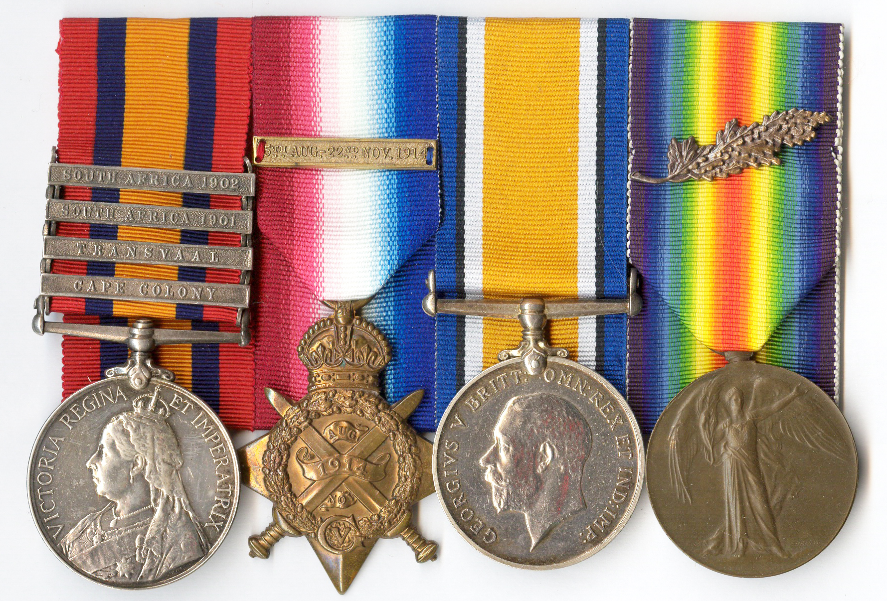 The medal group to 2nd Lieutenant George Fox, RFA with a Type I Victory Medal issued on 16 October 1920.