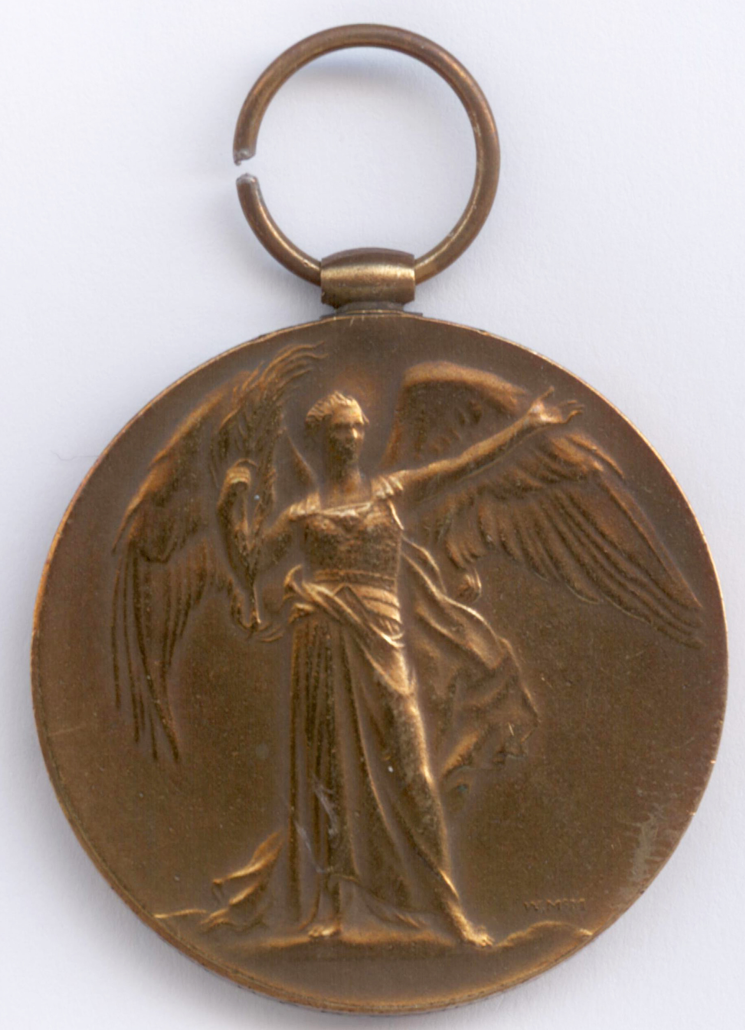The Type IR Victory Medal issued to Major H. P. H. Harris RFA. This medal was originally issued as a Type I Victory Medal on 10 June 1920; was returned for re-furbishing on 20 October 1920 and reissued as a Type IR Victory Medal the same day.