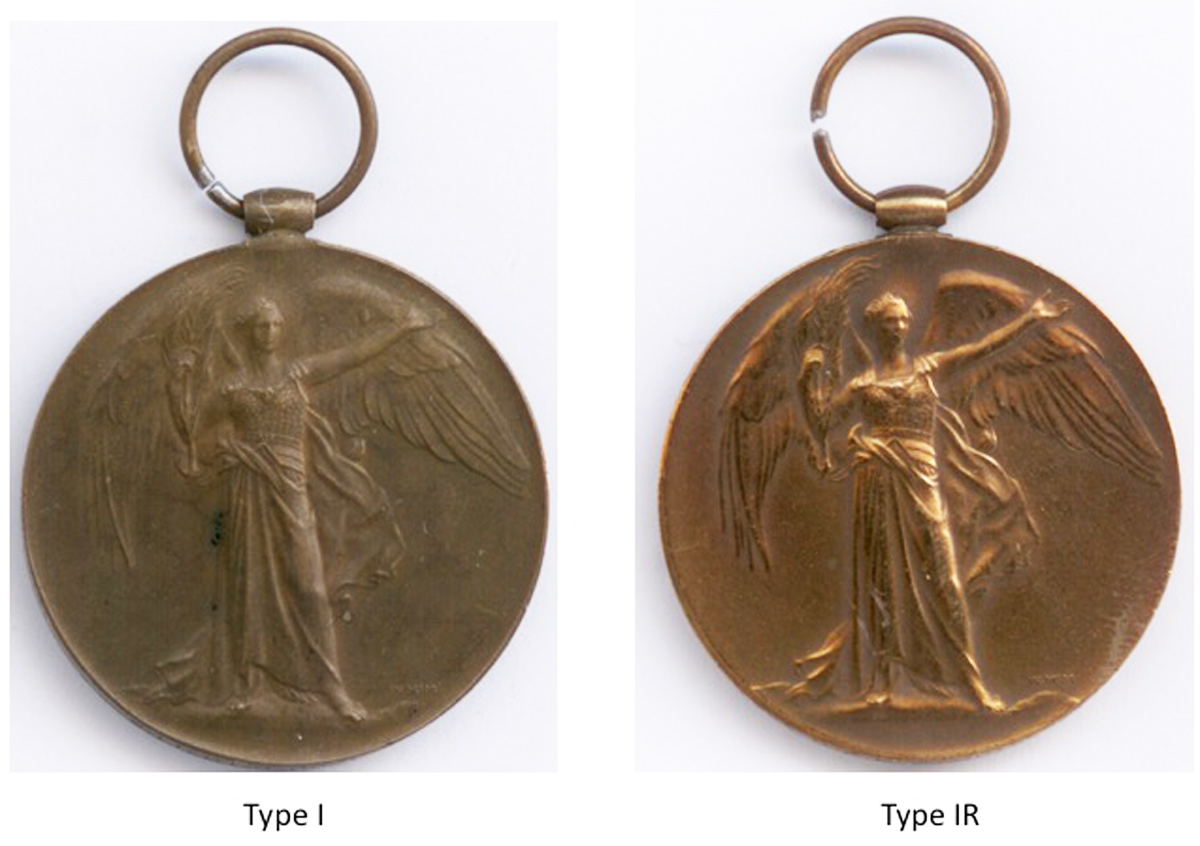 Comparison of the obverse of the Type I and Type IR Victory Medals.