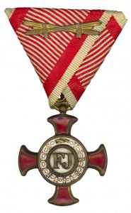 Figure 14: Gold Merit Cross on war ribbon. Image from author's archive
