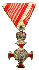 Figure 15: Silver Merit Cross with crown on war ribbon. Image from author's archive