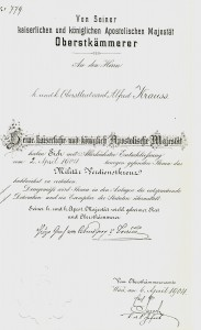 Figure 23: Award Certificate to Oberstleutnant Alfred Krauss in 1904. Image from author's archive.
