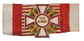 Figure 10: Ribbon forf the Military Merit Cross first class with war decoration first class and swordsfirst class. Image from the author's archive.