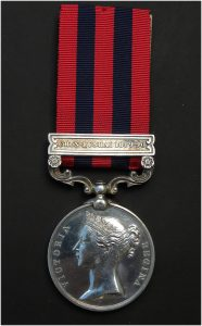 India General Service Medal, Clasp Chin-Lushai 1889-90. Named to 1937 Pte. J. Sandland 1st Bn. Ches. Regt.