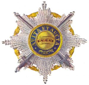 Figure 6: The Order of the Iron Crown, Knight First Class Star with war decoration, and swords of a lower class. Image form the author's archive.