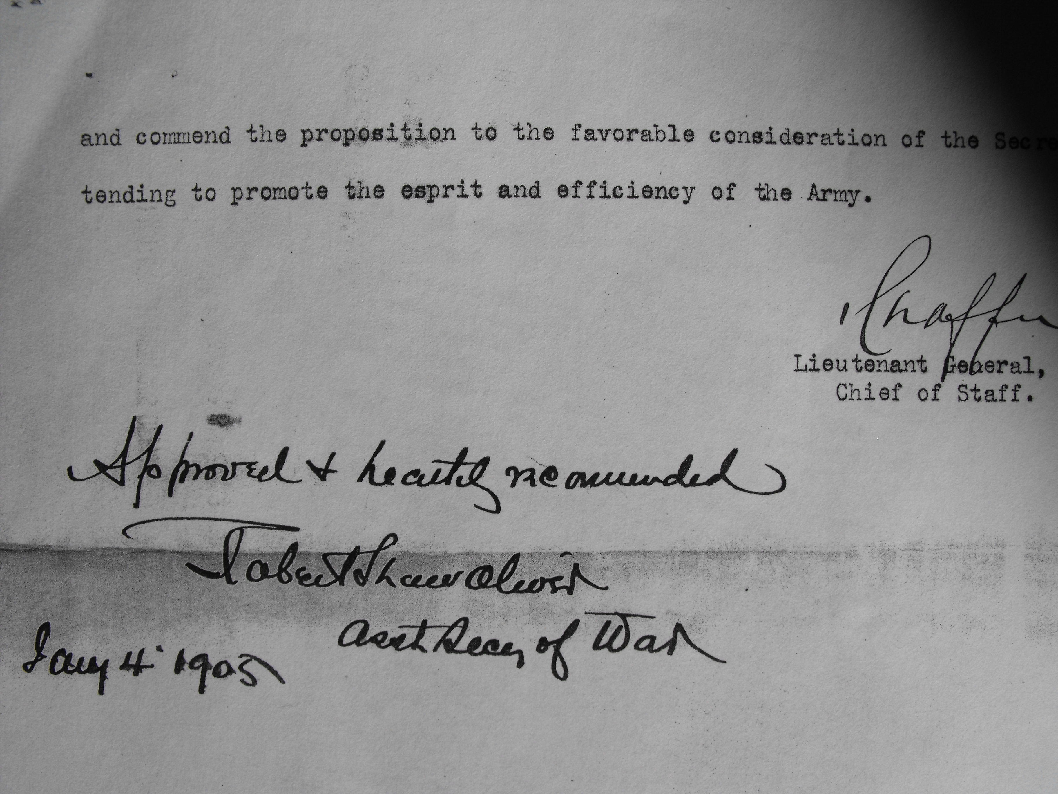 On January 4th, 1905, the Assistant Secretary of War Approves the Plan