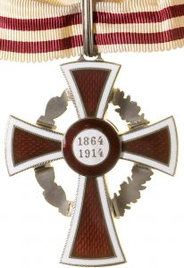 Figure 3: Red Cross Decoration , first class with war decoration, reverse.  Image courtesy of  Dorotheum.