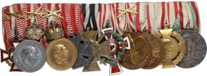 Figure 19: Medal Bar with ten awards including the Red Cross Decoration, second class with war decoration. Image from the author's archive.