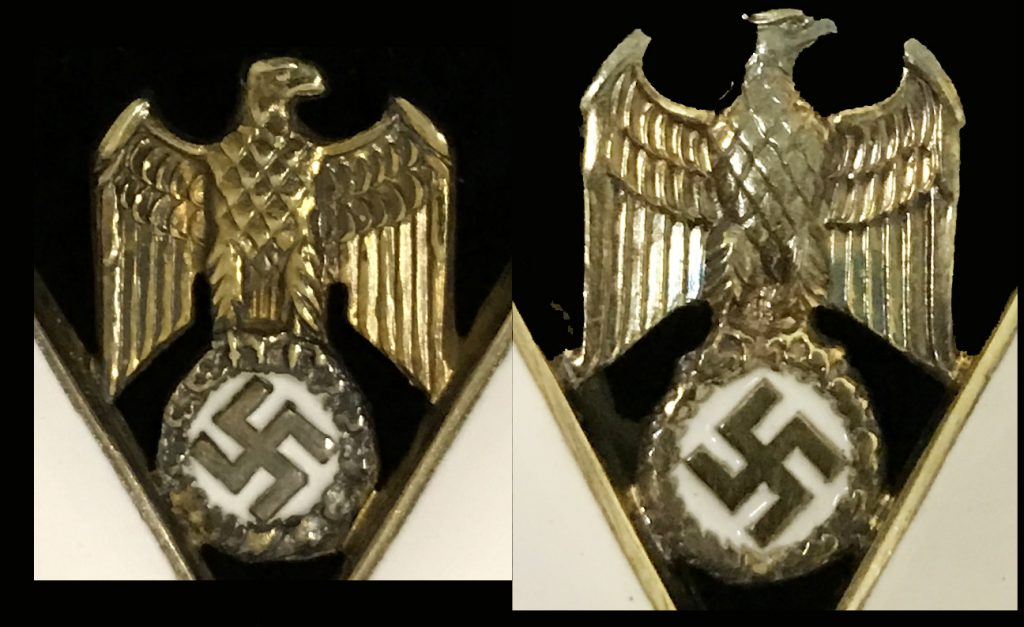 Figure 2: Side by side comparison of the eagle of two grand crosses (1st type to the left, 2nd type to the right)