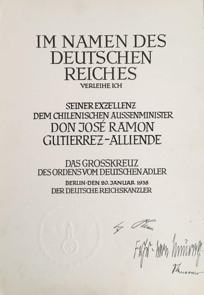 Figure 16: Award Document for a grand cross