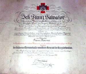Figure 19: Red Cross award document for the silver medal with war decoration. Image from the author's archive.