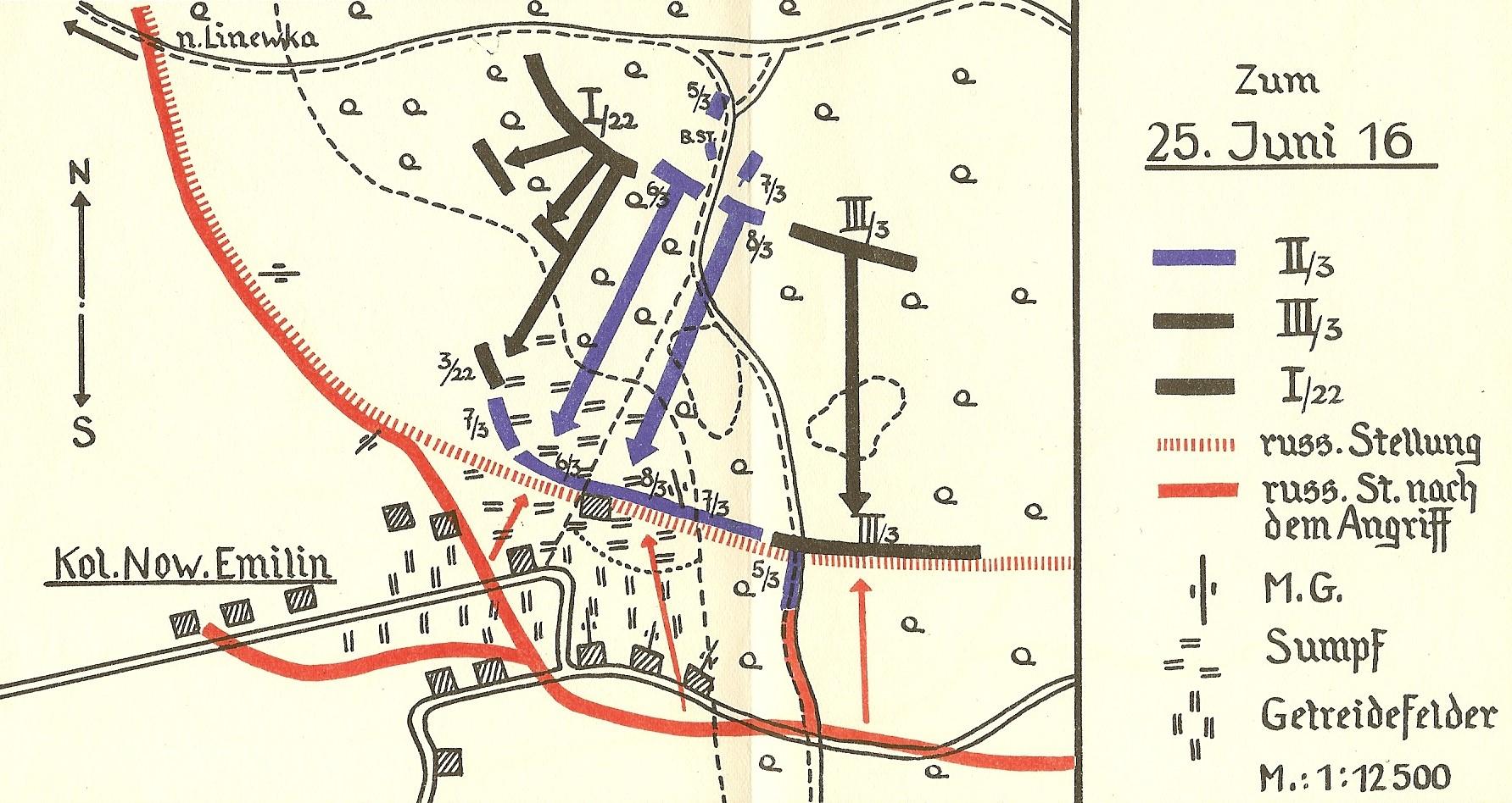 """Image 5: Action on June 25, 1916 in which Leutnant der Reserve Steiner fought. Image from """"Kommandeur Ritter von Steiner der Bauernbub im Weltkrieg""""."""